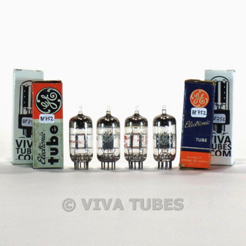 Tests NOS Matched Quad (4) GE USA 12AT7/ECC81 Grey Plate O Get Vacuum Tubes