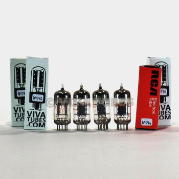 Tests NOS Matched Quad RCA USA 12AT7/ECC81 Grey Plate O Get Vacuum Tubes