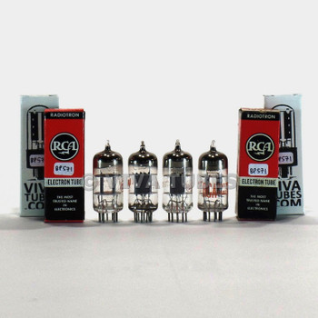 Tests NOS Matched Quad (4) RCA USA 12AT7/ECC81 Grey Plate O Get Vacuum Tubes