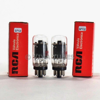 True NOS NIB Date Matched Pair RCA Mexico 6DN7 Black Plate Get Coin-Base Tubes