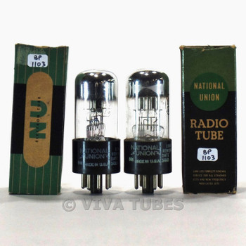 True NOS NIB Date Matched Pair National Union NU USA 6H6GT/G 3 Mica Vacuum Tubes