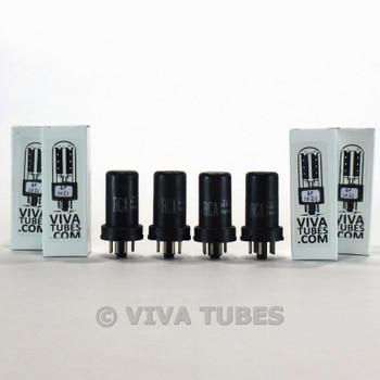 Matched Quad (4) RCA USA 6J5 Metal Rust Vacuum Tubes 91 & 89 & 86 & 82%