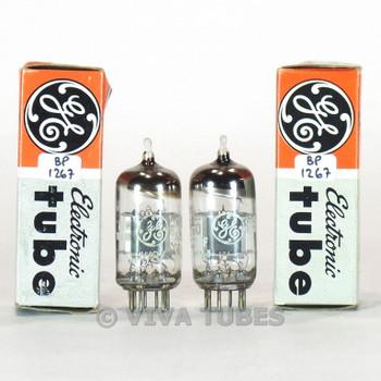 True NOS NIB Matched Pair GE USA 6JW8/ECF802 Grey Plate Top O Get Vacuum Tubes
