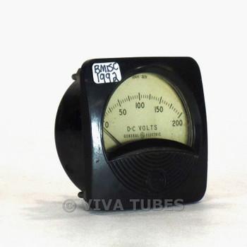 Vintage GE Round DC Volt Panel Meter, 1000ohm/Volt, 0-200 VDC Range