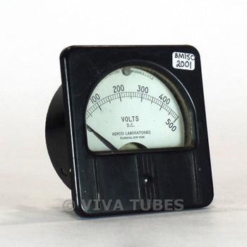 Vintage Kepco Rectangular 1301 DC Volt Panel Meter, 1000ohm/Volt 0-500 VDC Range