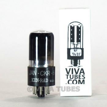 Tests NOS Ken-Rad USA JAN-CKR-6K6GT/VT-152 Round Black Plate Smoked Vacuum Tube