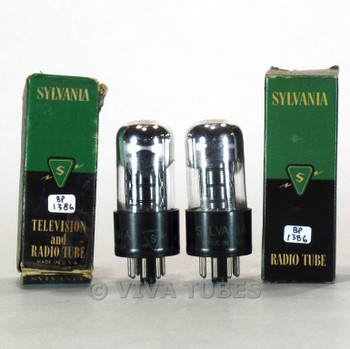 True NOS NIB Date Matched Pair Sylvania USA 6K6GT Black Round Tubes