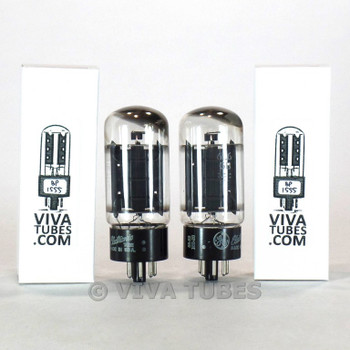 Date Matched Pair GE USA 6L6GB Black Plate Top [] Get Vacuum Tubes 71 & 71%