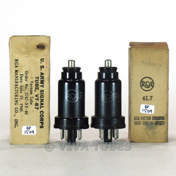 True NOS NIB Date Matched Pair RCA USA VT-87/6L7 Metal Rust Vacuum Tubes