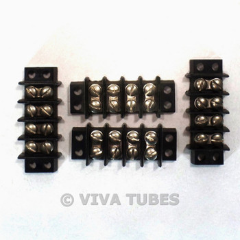 Vintage Lot of 4 Jones Black 4 Position Terminal Strips