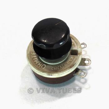 Vintage Ohmite 0318 Model J Potentiometer W/Knob 300 VDC 50 ohm 1A Max
