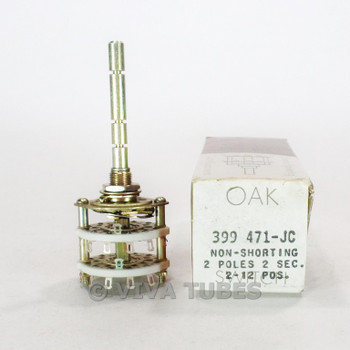 NOS NIB Vintage Oak 399471-JC Stock Rotary Switch 2 POL 2-12 POS 2 SEC