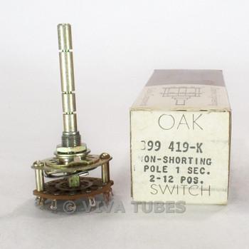 NOS NIB Vintage Oak 399419-K Stock Rotary Switch 1 POL 2-12 POS 1 SEC