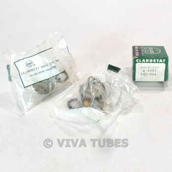 Vintage Lot of 2 Clarostat 43C2-100 Potentiometers 2W 100 ohm