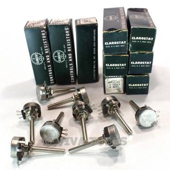 NOS NIB Vintage Lot of 9 Clarostat 53C1 Potentiometers 2W 10000 100K ohm