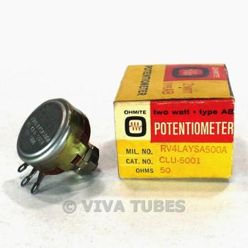 NOS NIB Vintage Ohmite Type AB CLU-5001 Bias Trim Potentiometer 2W 50 ohm