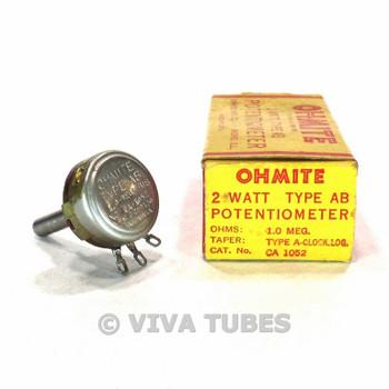 NOS NIB Vintage Ohmite CA-1052 Type AB Potentiometer 2W 1 MEG ohm 1M