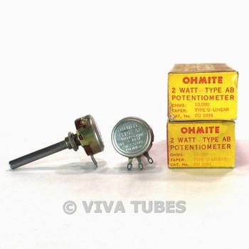 NOS NIB Vintage Lot of 2 Ohmite CU-1031 Type AB Potentiometer 2W 10K Ohm