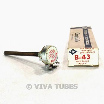 NOS NIB Vintage Centralab Type B-43 Control Potentiometer 150000 150K ohm