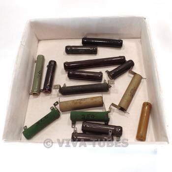 Vintage Lot of 15x 50 Watt Various Loose Wire Wound Ceramic Resistors