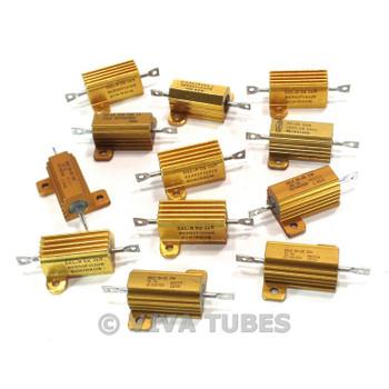 Vintage Lot of 12 Various Brands Wire Wound Power Resistors W Heat Sinks 20 Watt