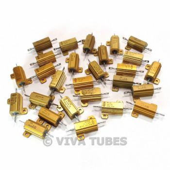 Lot of 27 Dale RH-25 Wire Wound Power Ceramic Resistors W Heat Sinks 20 Watt