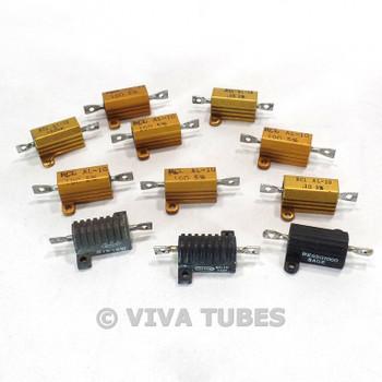 Lot of 11 Various Brands Wire Wound Power Resistors With Heat Sinks 10 Watt