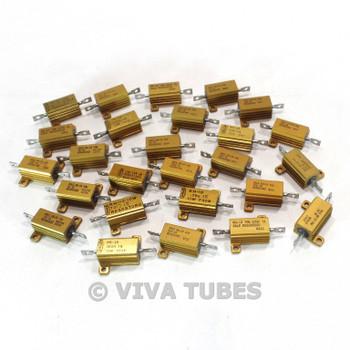 Vintage Lot of 26 Dale RH-10 Wire Wound Power Resistors With Heat Sinks 10 Watt