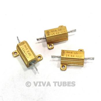 Lot of 3 Dale RH-5 Wire Wound Power Resistors With Heat Sinks 5 Watt 1/2.2ohm