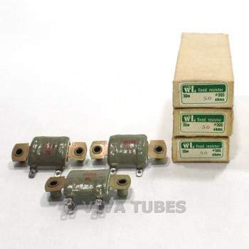 NOS NIB Vintage Lot of 3 WL 30S Flat Ceramic Wire Wound Resistors 30 Watt 50 ohm