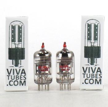 New Gain Matched Pair (2) Ruby China 12AT7C / ECC81 Triple Mica Vacuum Tubes