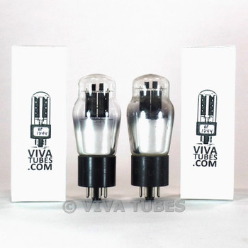 Matched Pair Sylvania USA 6N7G ROUND Black Plate Engraved Base Tubes 74%