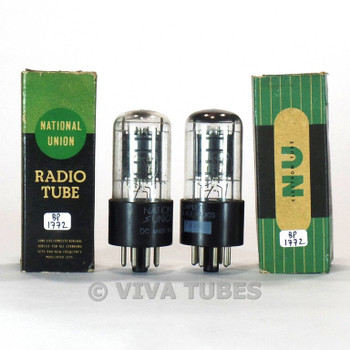 True NOS NIB Matched Pair National Union NU USA 6SA7GT Black Plate 3 Mica Tubes