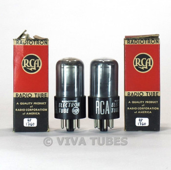 True NOS NIB Date Matched Pair RCA USA 6SA7GT Round Silver Plate Smoked Tubes