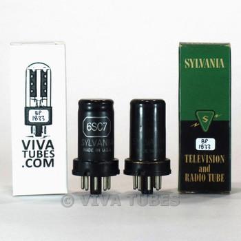 Matched Pair Sylvania USA 6SC7 Metal Rust Vacuum Tubes 97/95 & 95/97%