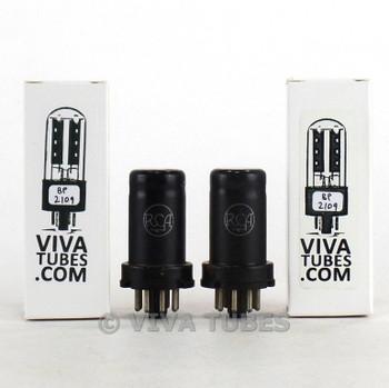 Date Matched Pair RCA USA 6SJ7 Metal Rust Vacuum Tubes 97 & 95%