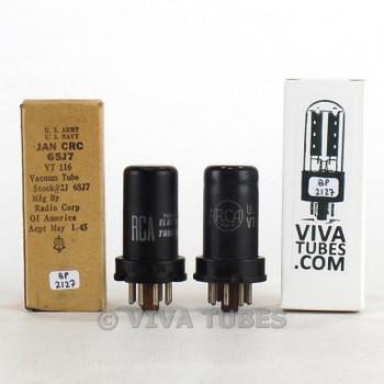 True NOS NIB Matched Pair RCA USA 6SJ7Y / VT-116B Metal Rust Vacuum Tubes 100+%