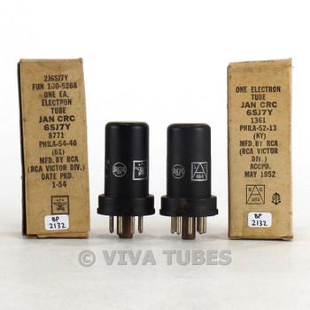 True NOS NIB Matched Pair RCA USA JAN-CRC-6SJ7Y Metal Brown Base Rust Tubes
