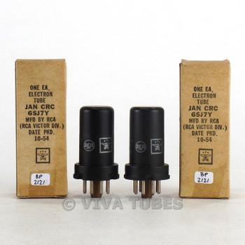 True NOS NIB Date Matched Pair RCA USA JAN-CRC-6SJ7Y Metal Brown Base Tubes