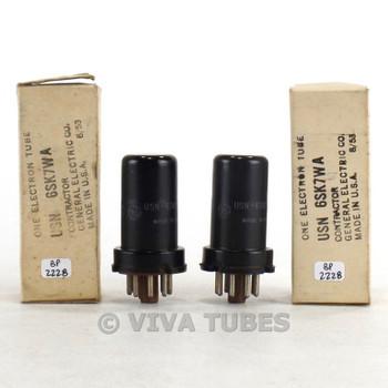 True NOS NIB Date Matched Pair GE USA USN-6SK7WA Metal Brown Base Tubes