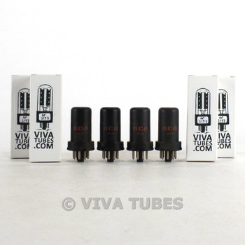 Tests NOS Date Matched Quad (4) RCA USA 6SK7 Metal Vacuum Tubes 100+%