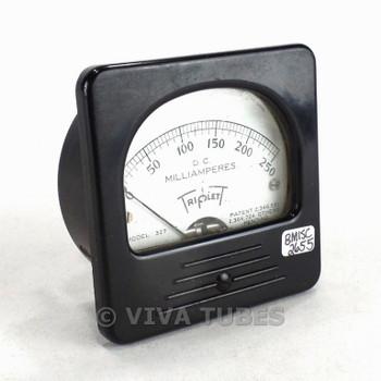 Vintage Triplett Square Model 327-T DC Amp Panel Milliammeter 0-250 mA DC Range