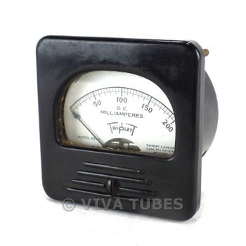 Vintage Triplett Model 221-T Square DC Amp Panel Milliammeter 0-200 mA DC Range