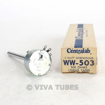 NOS NIB Centralab Model WW-503 Wirewound Linear Taper Potentiometer 5 Watt 50K