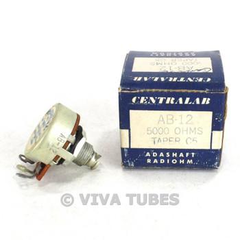 NOS NIB Vintage Centralab Model AB-12 Adashaft Radiohm Potentiometer 5K ohm