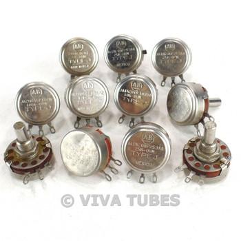 Vintage Lot 11 Allen-Bradley & Ohmite Type J/Type AB Potentiometers 25K 10K 100K