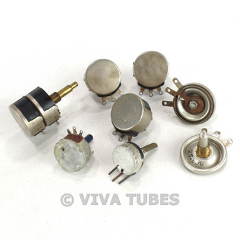 Vintage Lot of 8 Potentiometers Various Ohms & Watts