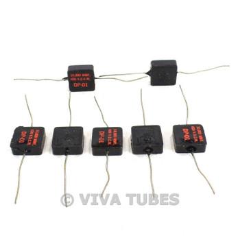 Vintage Lot of 7 Tobe Type DP-01 Black Square Mica Capacitors 10 uF 600 VDC