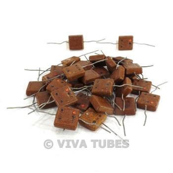 Vintage Lot of 30x El-Menco Square Mica Capacitors W/Axial Leads