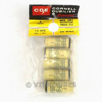 NOS NIB Set of 5 Cornell-Dubilier WPP2W1 Polypropylene Tubular Caps 1 uF 200 VDC